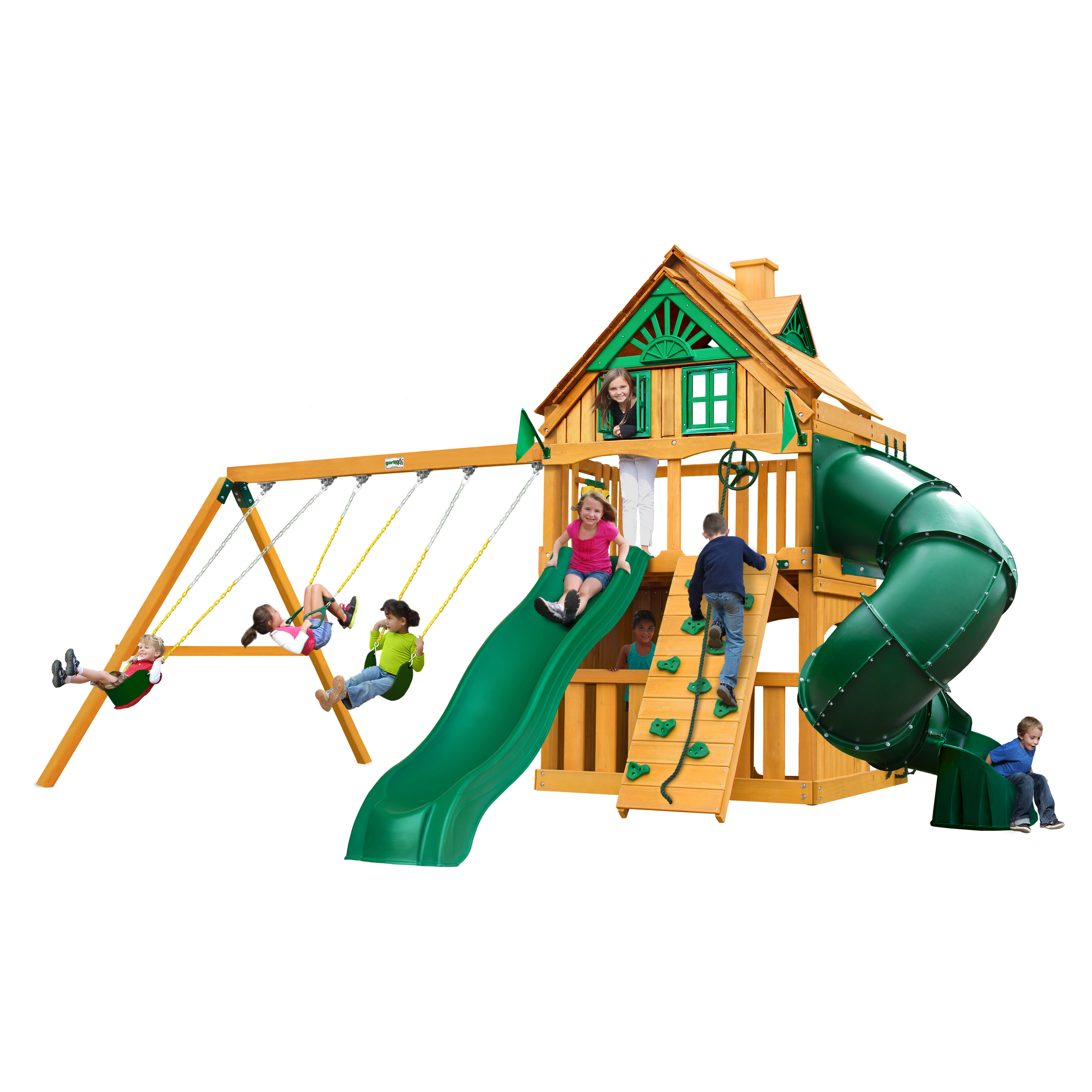 Mountaineer Clubhouse Treehouse Cedar Swing Set with Natural Cedar Posts