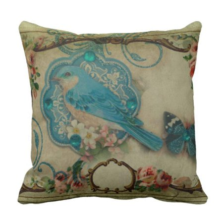 BPBOP English Elegant Flourish Blue Bird French Country Shabby Pillowcase Cushion Cover 20x20 inches ()