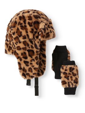 Scoop Faux Fur Trapper with Fingerless Glove Gift Set
