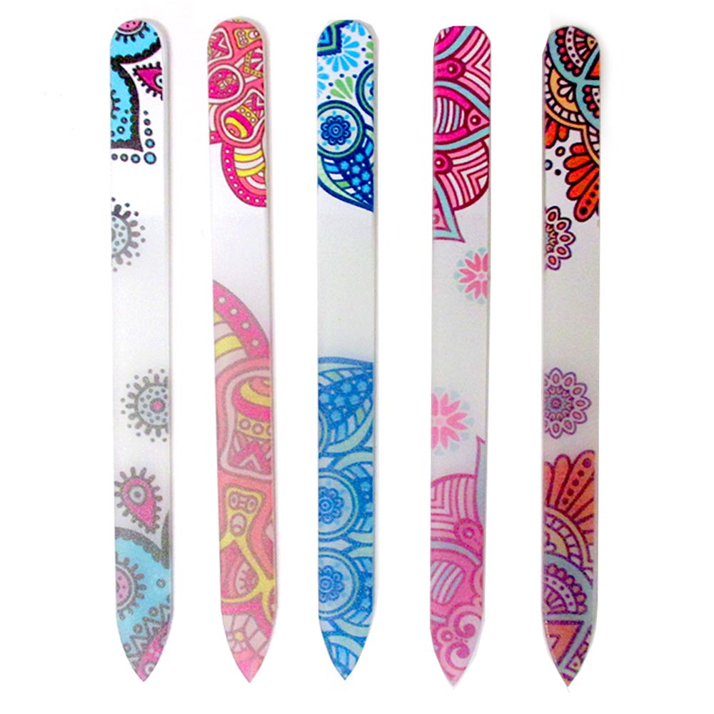4 Glass Nail File Crystal Paisley Design Buffer Manicure Pedicure Device Tool !