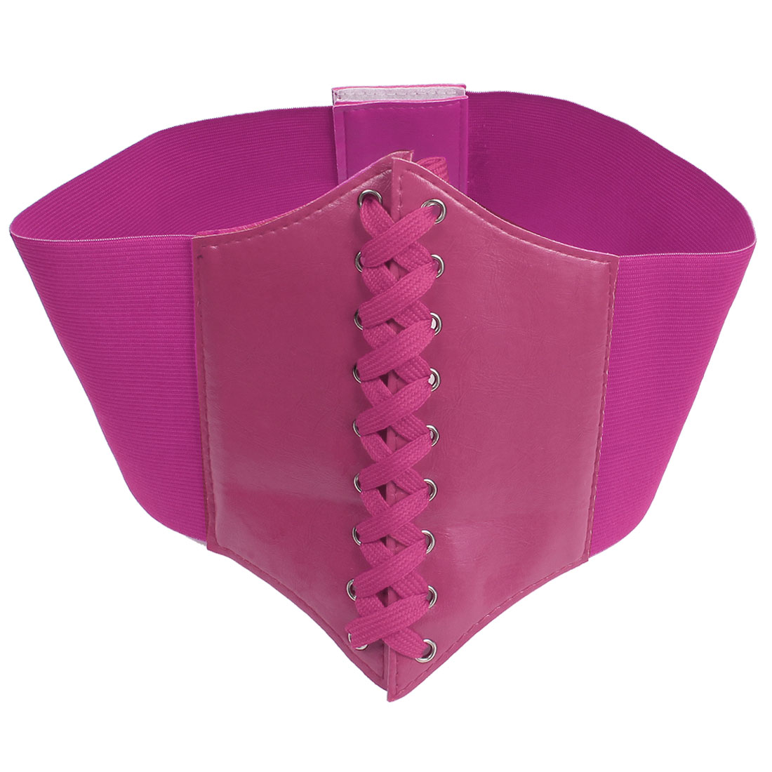 Faux Leather Width Stretchy Lace Up Waist Corset Belt for Women