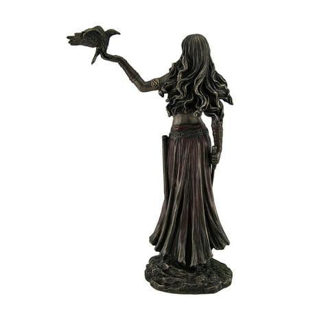 Morrigan Celtic Goddess of Battle Holding Crow and Sword Bronze Finish Statue - image 2 de 4