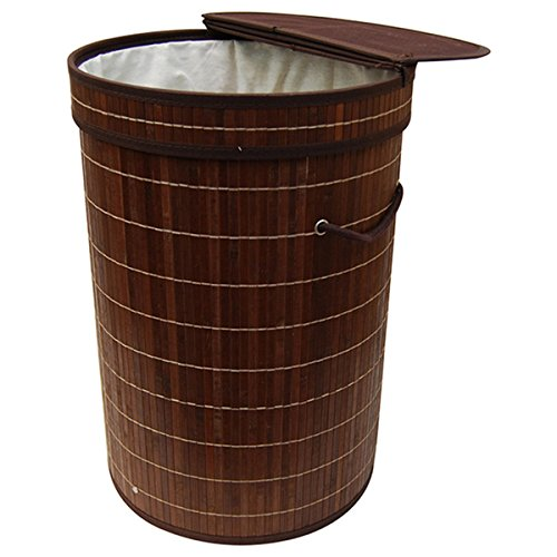 Brown Bamboo Round Folding Bamboo Laundry Hamper with Cotton Removable Lining, Product Features: Eco-Friendly By Generic