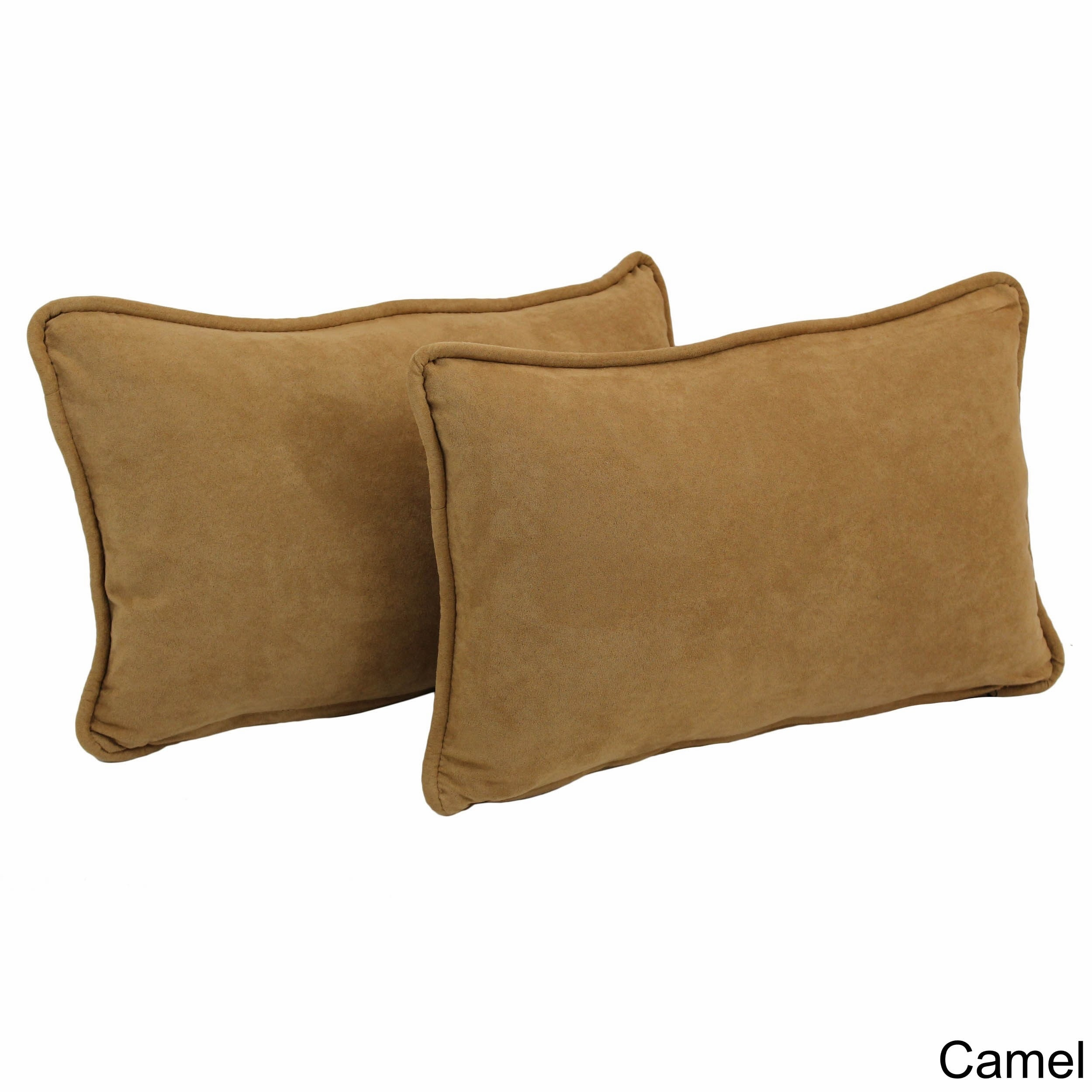 Blazing Needles Microsuede Rectangular Back Support Throw Pillows (Set of 2) by Overstock