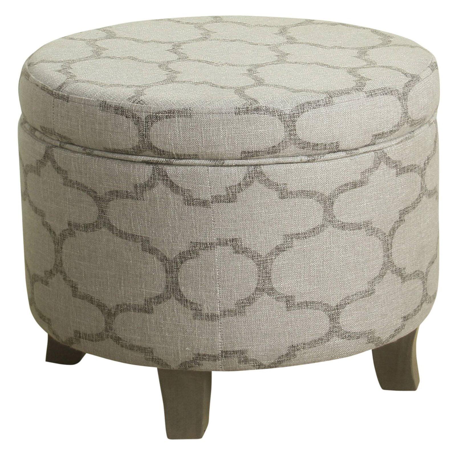 HomePop Cole Classics Round Storage Ottoman - Gray