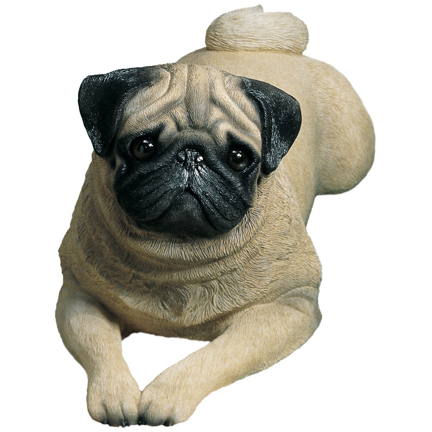 "Sandicast ""Life Size"" Lying Fawn Pug Dog Sculpture"