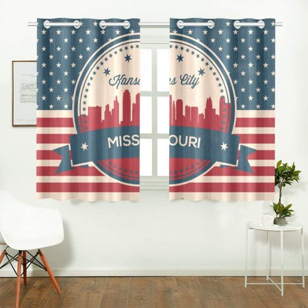 CADecor Vintage Missouri State Kansas SkylineWindow Treatment Panel Curtains Window Curtain Kitchen Curtain,Two Piece 26x39 Inces