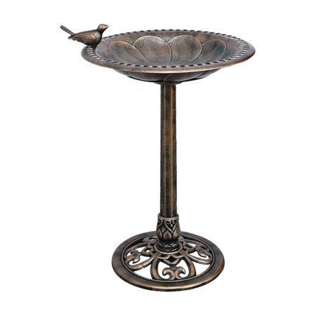 Bronze Plastic Resin Bird Bath with Decorative Base ()