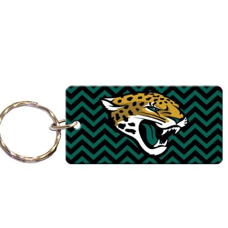 Jacksonville Jaguars Chevron Printed Acrylic Team Color Logo Keychain Jacksonville Jaguars Keychain