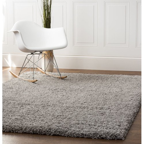 Super Area Rugs Cozy Plush Solid Gray Rug