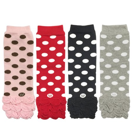Colorful Baby Leg Warmers - Wrapables® Colorful Baby Leg Warmers (Set of 4), Half Ruched and Dots