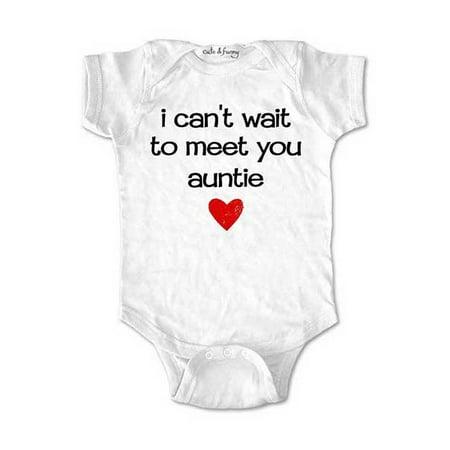 I can't wait to meet you auntie - surprise baby birth pregnancy announcement - White Newborn (0-3 Mos) Size Unisex Baby Bodysuit (White Wolf Onesie)