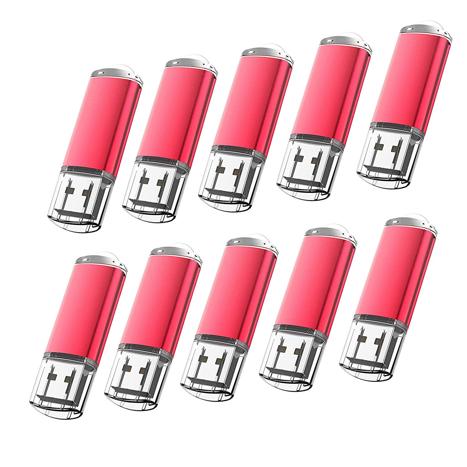 KOOTION 10Pack 16GB USB 2.0 Flash Drives Memory Stick Thumb Drive, Red