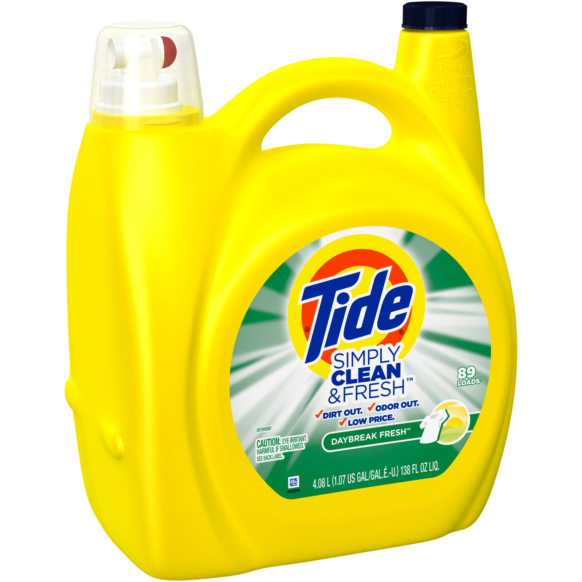 Tide Simply Clean & Fresh HE Liquid Laundry Detergent, Daybreak Fresh Scent, 89 loads, 138 oz