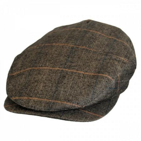 Hoxton Herringbone Plaid Wool Blend Ivy Cap - XXL - Brown