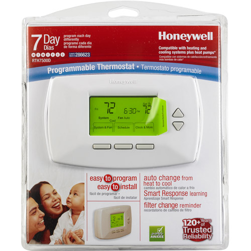 Honeywell Conventional 7-Day Programmable Thermostat, Off-White