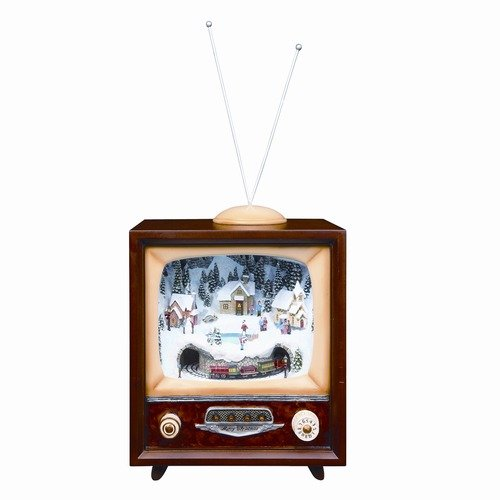 Roman, Inc. Large Musical TV with Revolving Train