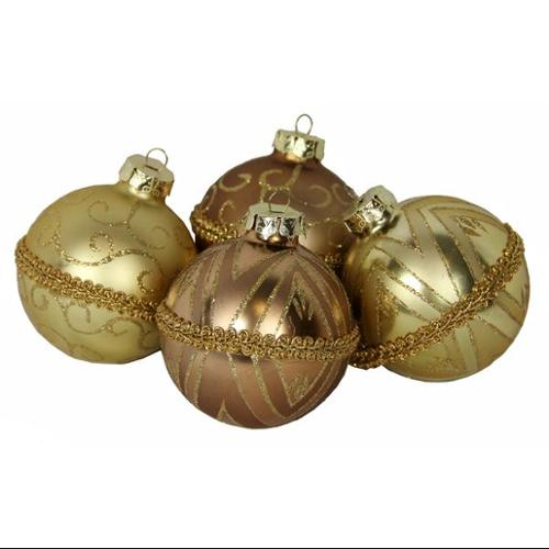 "Set of 4 Gold Glitter Swirl Shatterproof Christmas Ball Ornaments 3.25"" (80mm)"