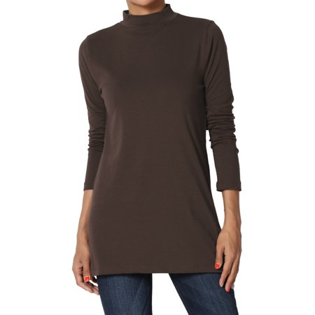 TheMogan Women's PLUS Mock Neck Long Sleeve T-Shirt Stretch Cotton Slim Fit Top (Womens Long Sleeve Mock Neck)
