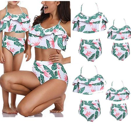 2Pcs Mommy and Me Matching Family Swimsuit Ruffle Women Swimwear Kids Children Toddler Bikini Bathing Suit Beachwear