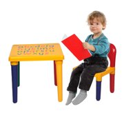"Lovely Kids Picnic Table and Chairs Sets, 17.7'' x 17.7'' x 16"" Solid Picnic Kids Table and Chairs Set, Children Sturdy Picnicen Furniture for Play Lego, Reading, Train, Art Play-Room, S9206"