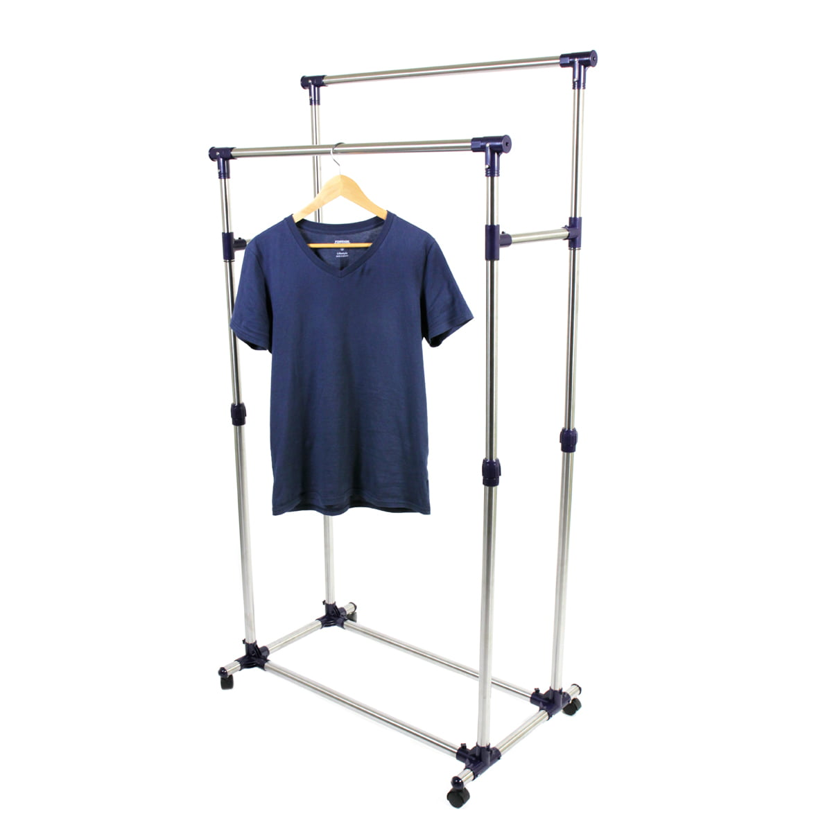 Delicieux ProSource Premium Heavy Duty Double Rail Adjustable Telescopic Rolling  Clothing And Garment Rack   Walmart.com