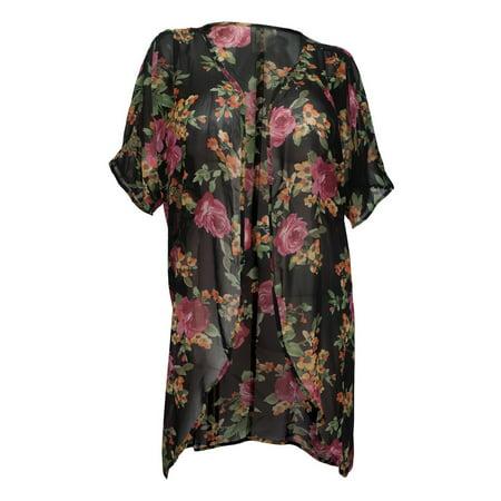 0031812789d eVogues Apparel - eVogues Plus size Floral Chiffon Long Kimono Cardigan  Black Pink - Walmart.com