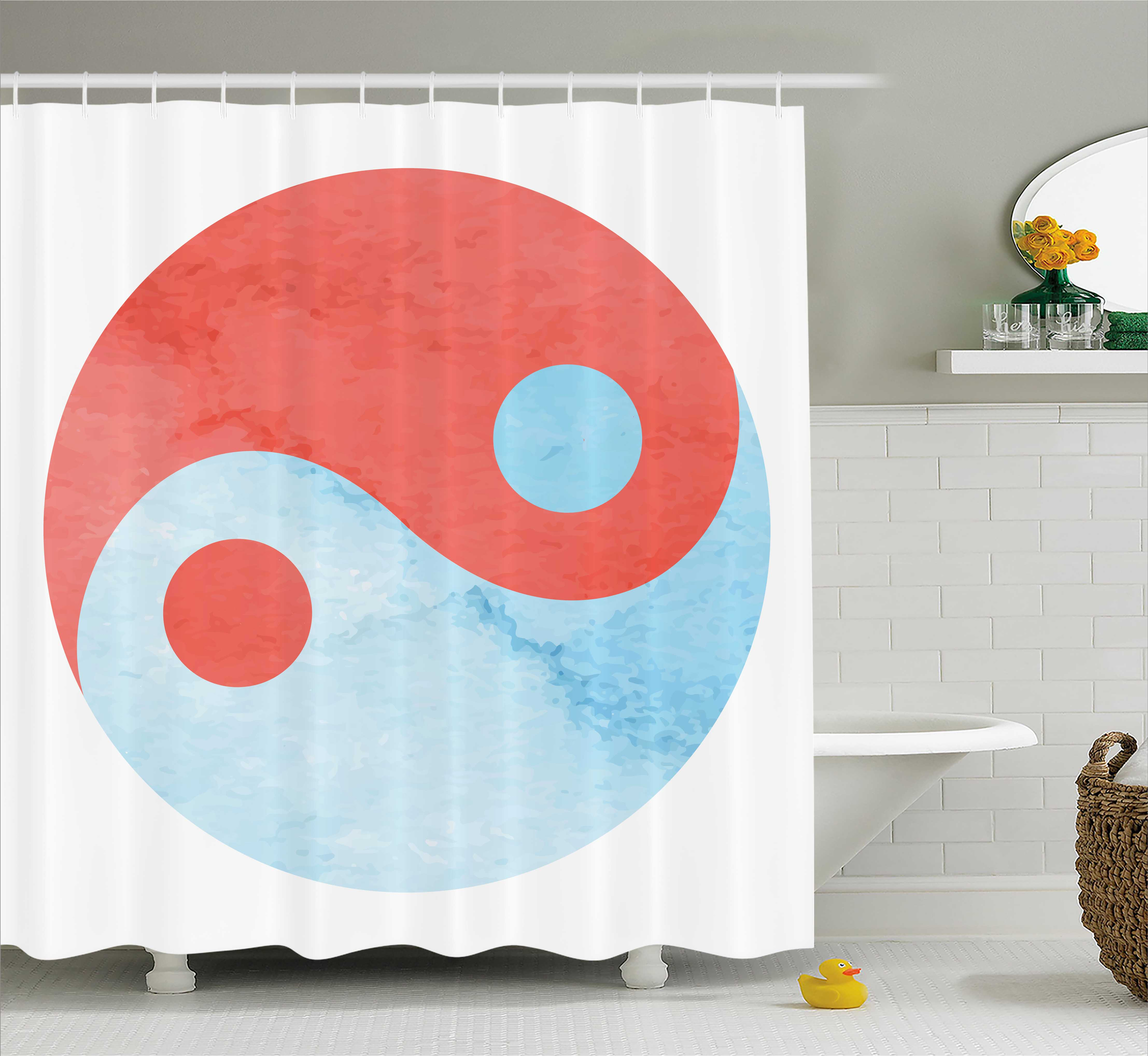 Ying Yang Decor Shower Curtain, Watercolor Asian Arts Culture Theme Zen Balance Harmony Abstract Art, Fabric Bathroom Set with Hooks, 69W X 70L Inches, Red Blue White, by Ambesonne
