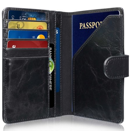 GreatShield RFID Blocking Leather 9 Slot Passport Card Holder Wallet Cover Case