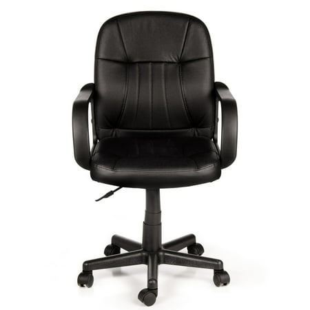 Long Back Chair - Comfort Products 60-5607M Mid-Back Leather Office Chair, Black