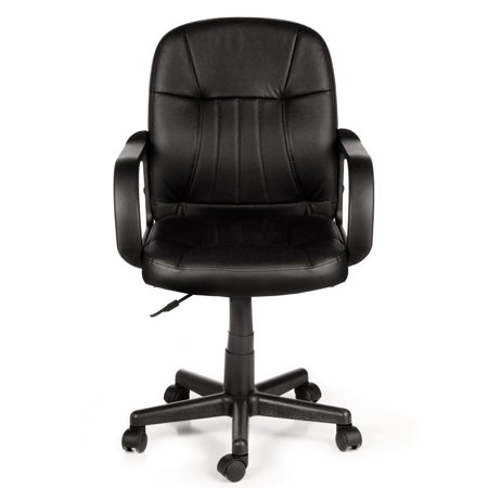 Comfort Products 60-5607M Mid-Back Leather Office Chair, Black](Ball Office Products)