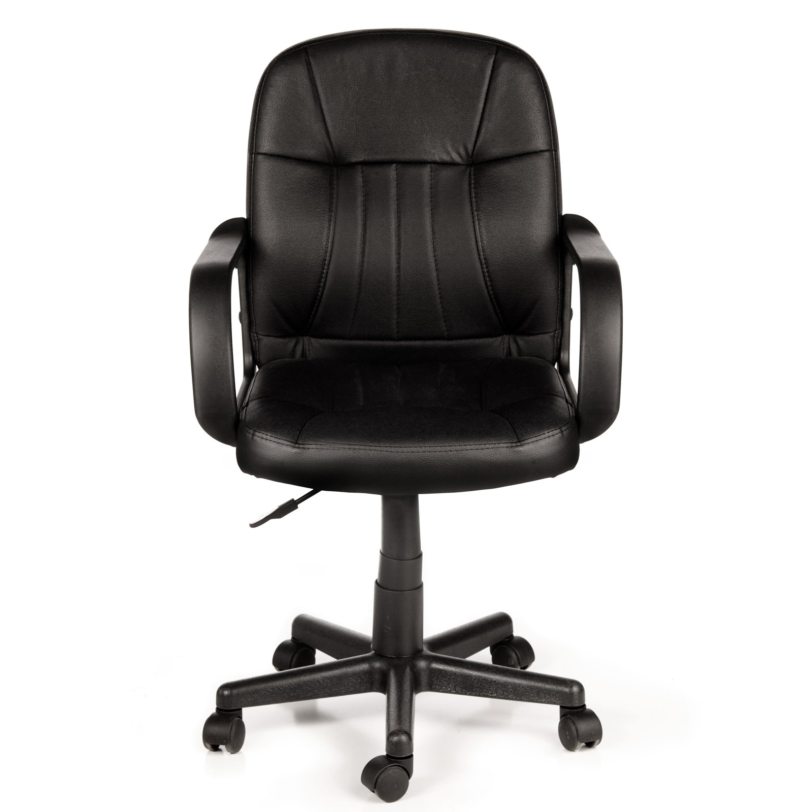 black and white office. comfort products 605607m midback leather office chair black