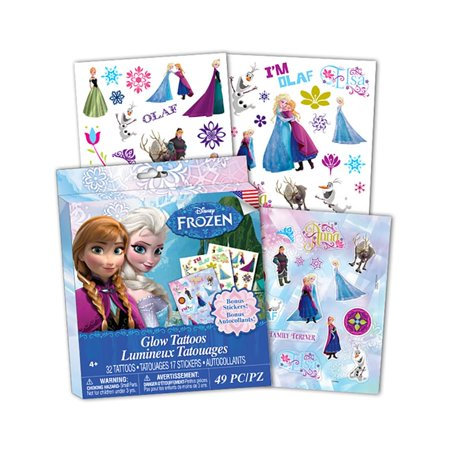 Disney Frozen Glow Temporary Tattoos w/ Bonus Stickers, 49 Pieces](Glow In The Dark Tattoos For Kids)