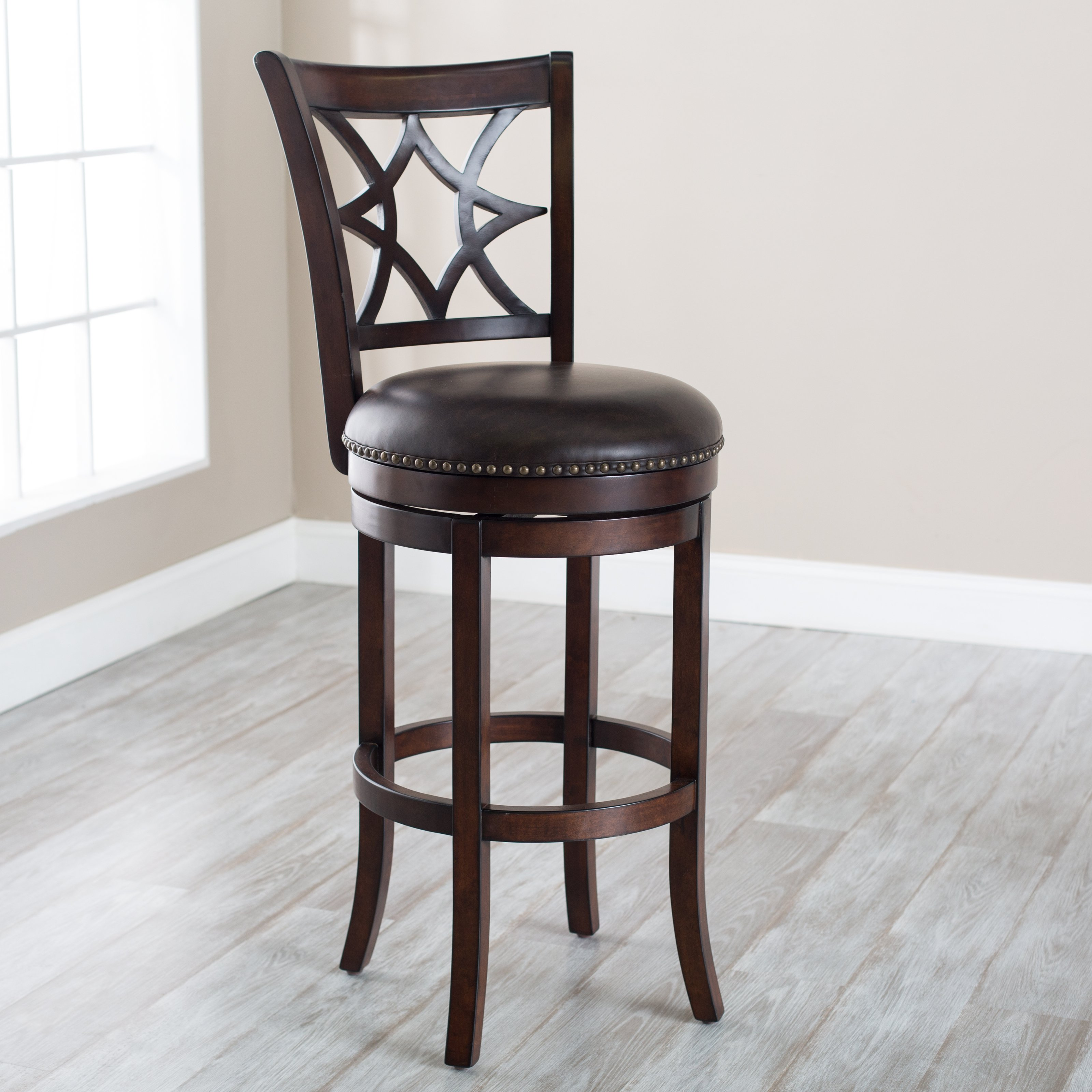 Belham Living Oliver Wood Swivel Bar Stool with Nailheads
