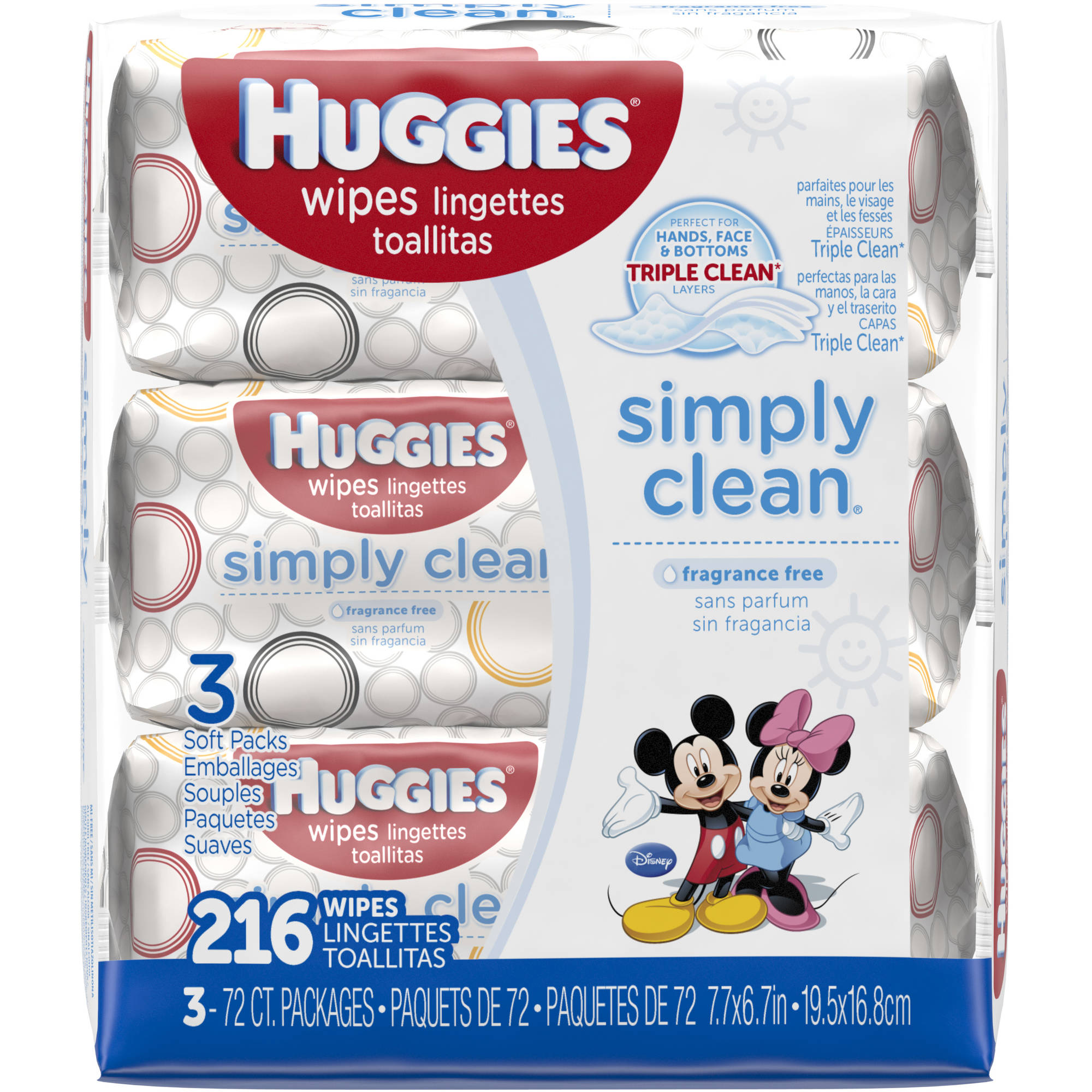 HUGGIES Simply Clean Baby Wipes, 72 sheets, (Pack of 3)