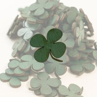 Crafts - GREEN Clovers 100 Count 1in Raw Wood