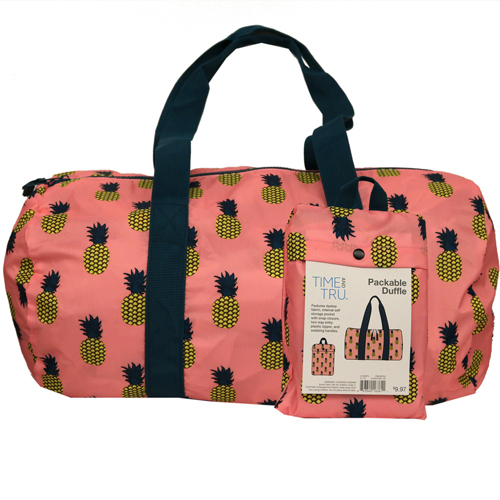 Time And Tru Pineapple Packable Duffel