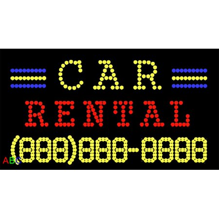 17 X31  Abc Led Signs Custom Animated Car Rental Led Sign With Phone   W Flashing Controller