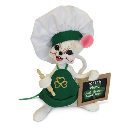 Annalee Dolls 6in 2018 Irish Chef Mouse Plush New with Tags