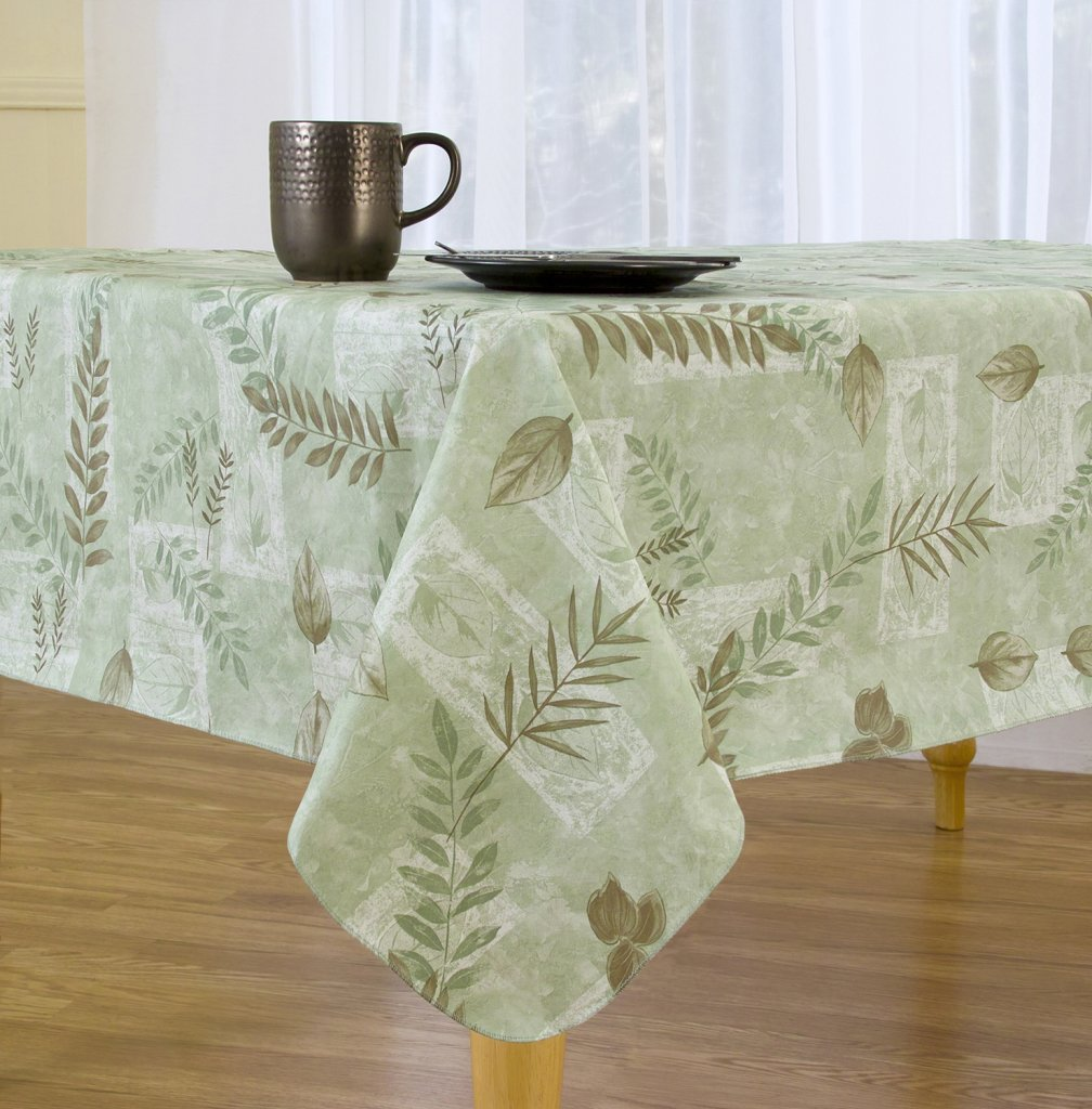 Boxed Fern Flannel Backed Vinyl Tablecloth Indoor Outdoor, 70 Inch Round,  Sage
