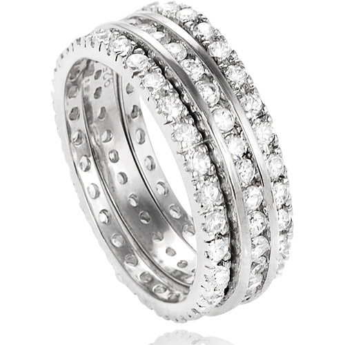 Sterling Silver Cubic Zirconia 3-Piece Band Bridal Set