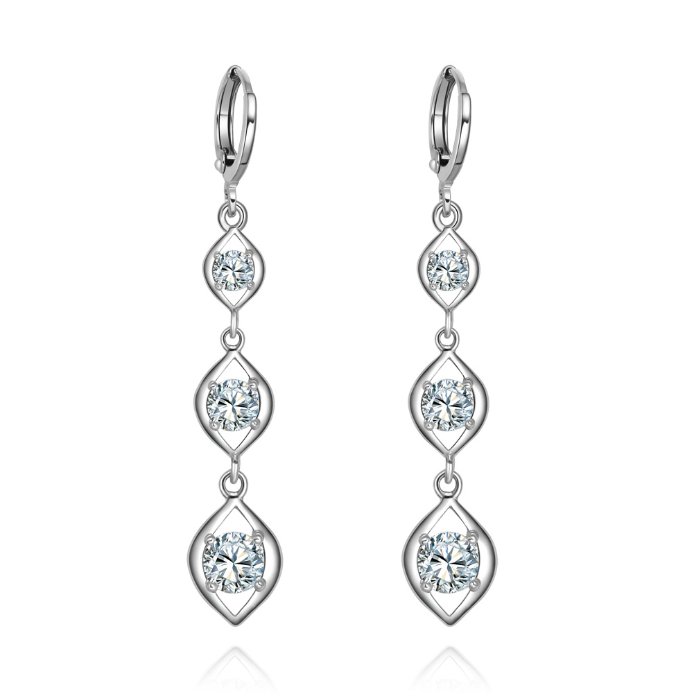 Fabulous and Gorgeous Triple Lucky Charms White Sparkling Crystals Silver-Tone Fashion Earrings