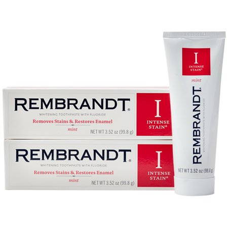 - Rembrandt Intense Stain Whitening Toothpaste, Mint Flavor, 3.52-Ounce (2 Pack)