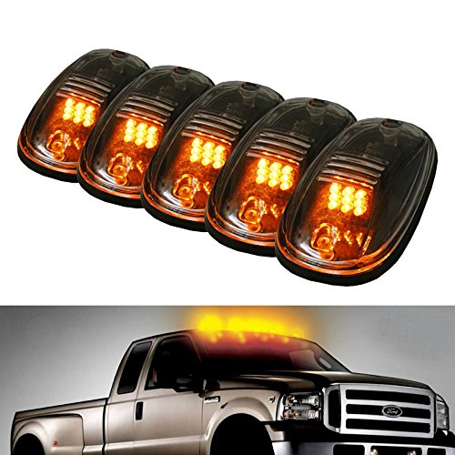 iJDMTOY 5PCS Amber LED Cab Roof Top Marker Running Lamps With Clear Lens For Ford F150 F250 F350 Dodge RAM GMC Sierra 1500 2500 Yukon Chevrolet Silverado Toyota Tundra Tacoma Truck SUV And More