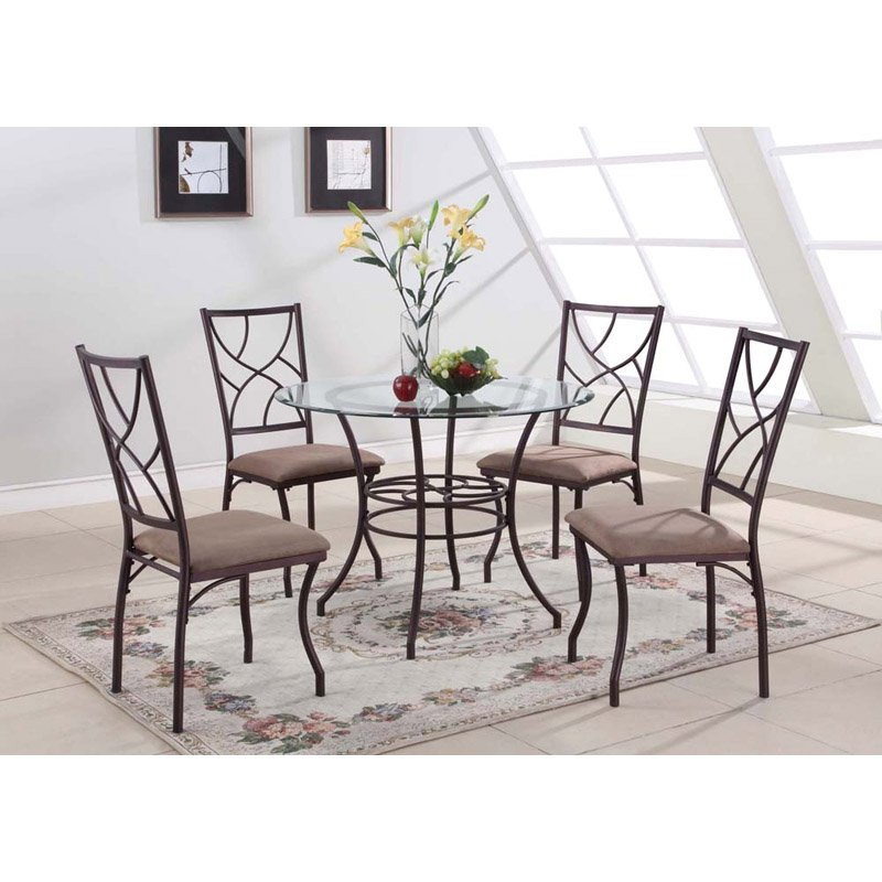 Dinette 5-Piece Set with Metal Frame - Copper