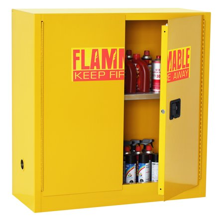 "Sandusky 43""W x 18""D x 44""H Counter Height Flammable Safety Cabinet, 30 Gallon Capacity, Yellow"