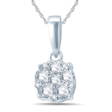 1/4 Carat TW Diamond Cluster Pendant in 10K White Gold