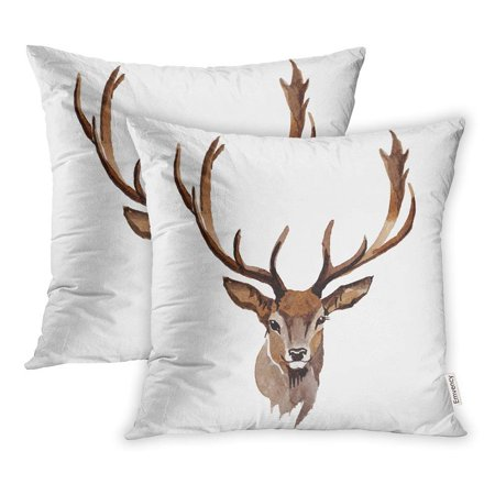 ARHOME Reindeer Wild Animal in Watercolor Style Full Name The Aquarelle Pillow Case Pillow Cover 18x18 inch Set of - Raindeer Names