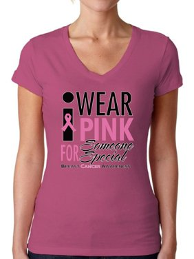 Awkward Styles Women's I Wear Pink for Someone Special V-neck T-shirt Breast Cancer Awareness
