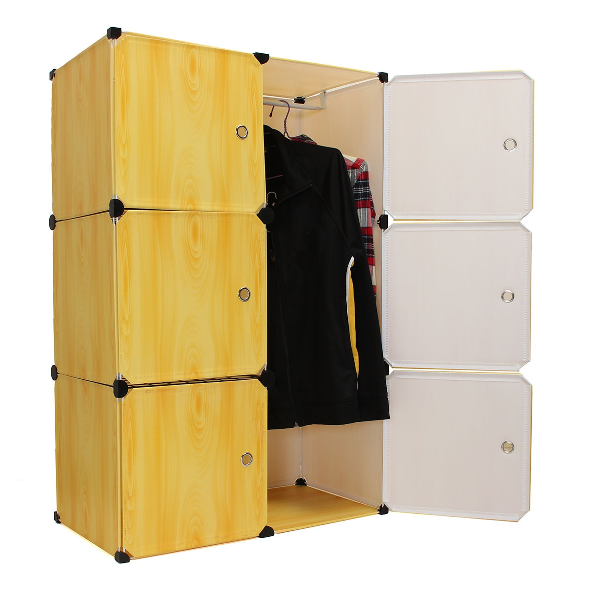 Portable Closet Storage Organizer Cabinet 6 Cube Clothes ...
